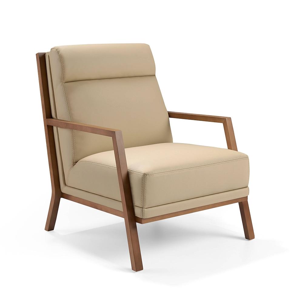 Sillón A852 - Sillón A852, Sillón tapizado en piel con patas madera en color Nogal