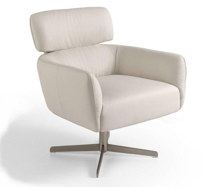 Sillón A885 - Sillón A885, Sillón giratorio tapizado en piel con patas de acero inoxidable