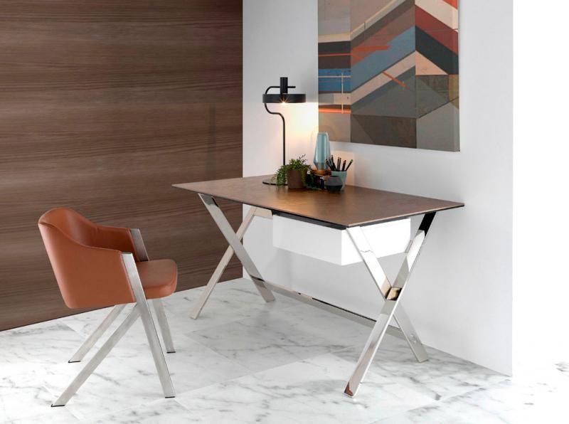 Escritorio AH121AA-CORTEN - AH121AA-CORTEN, Mesa de oficina con tapa de corten porcelánico y estructura de acero inoxidable
