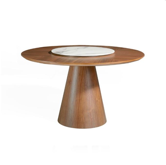 Mesa de comedor redonda fabricada en madera y chapada en nogal