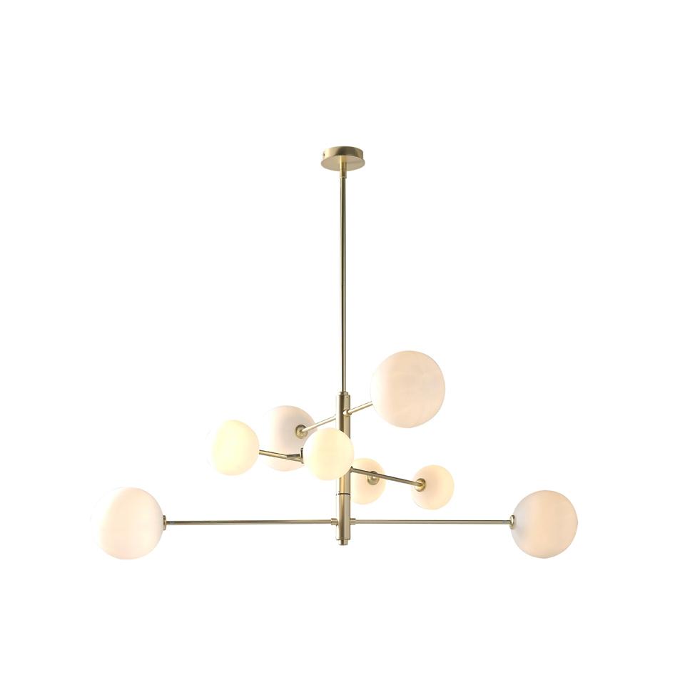 Lampara de techo C1214-8 - Lampara de techo C1214-8, Lámpara colgante de acero en acabado oro