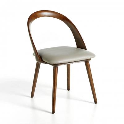 Silla de madera color nogal con asiento tapizado en polipiel - SILLA DE MADERA COLOR NOGAL CON ASIENTO TAPIZADO EN POLIPIEL