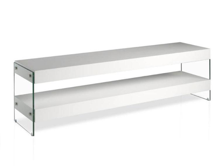 Mesa de TV CP1110-T - Mesa de TV CP1110-T, Mueble TV de DM lacado con laterales de cristal templado