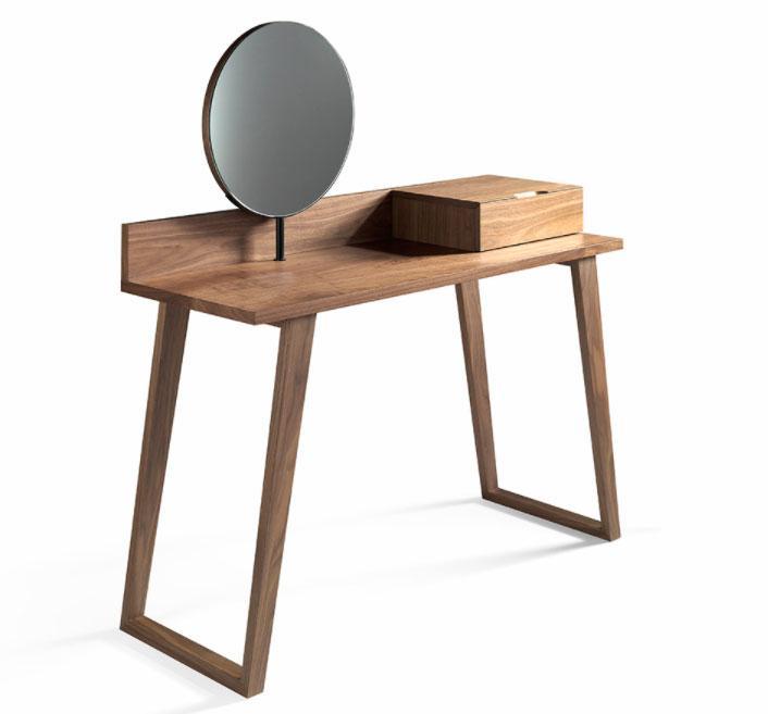 Escritorio CP1702-DK - Escritorio CP1702-DK, Tocador de madera chapada en Nogal con dos cajones y espejo