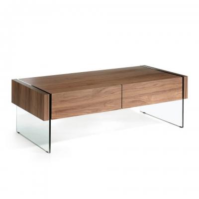 Mesa de centro de madera chapada en nogal