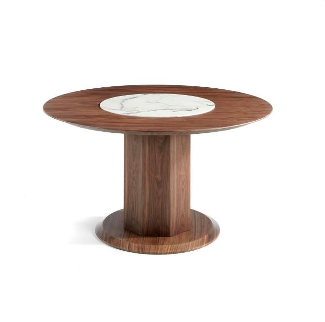 Mesa de comedor redonda fabricada en madera y chapada en nogal - Mesa de comedor redonda fabricada en madera y chapada en nogal