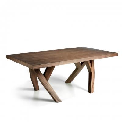 Mesa de comedor de madera maciza chapada en Nogal - MESA DE COMEDOR DE MADERA MACIZA CHAPADA EN NOGAL