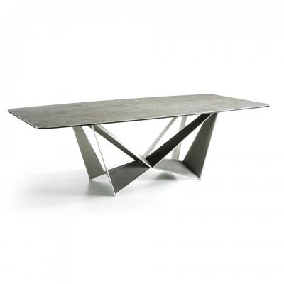 Mesa de comedor con patas de acero acabado cemento - MESA DE COMEDOR CON PATAS DE ACERO LACADO GRIS Y TAPA PORCELÁNICO