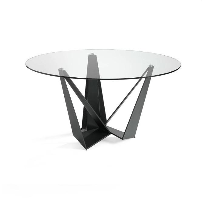 Mesa de comedor de acero pintado con tapa de cristal