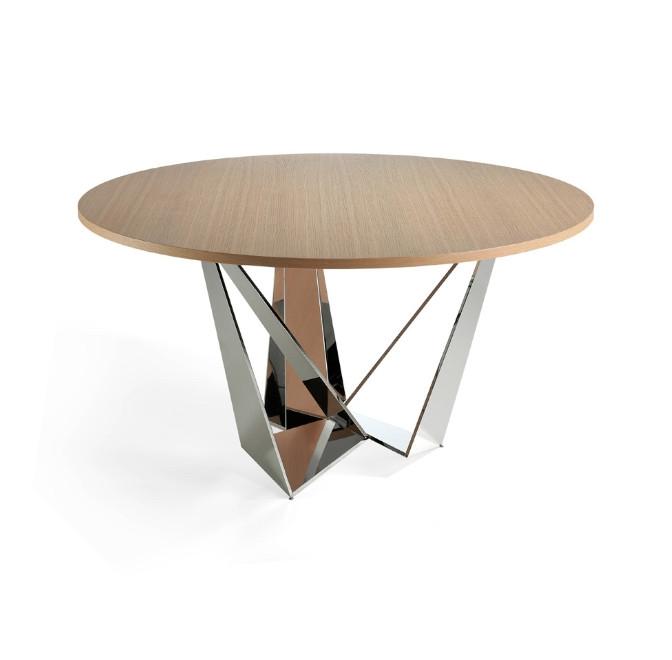 Mesa de comedor con patas de acero cromado inoxidable