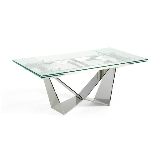 Mesa de comedor extensible fabricada en acero cromado inoxidable  - Mesa de comedor  extensible fabricada en acero cromado inoxidable