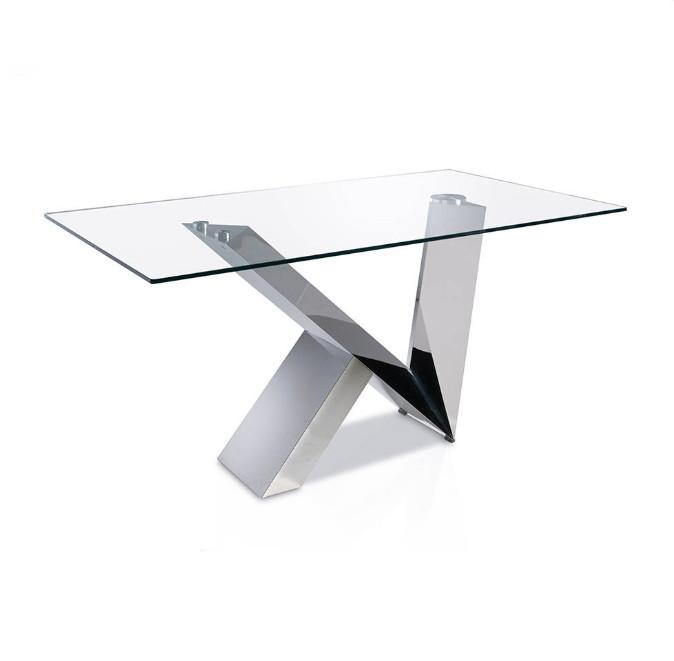 Mesa de comedor con base de acero inoxidable