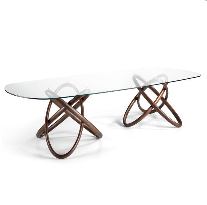 Mesa de comedor con doble base fabricada en madera maciza - Mesa de comedor con doble base fabricada en madera maciza