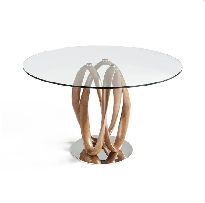 Mesa de comedor de madera maciza curvada color nogal