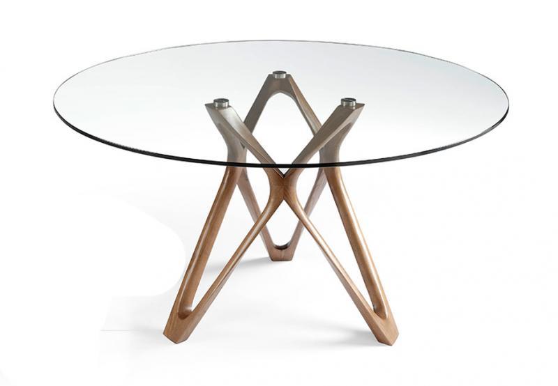 Mesa DT801 - Mesa DT801, Mesa de comedor de madera maciza curvada color nogal con tapa de cristal templado y base de acero