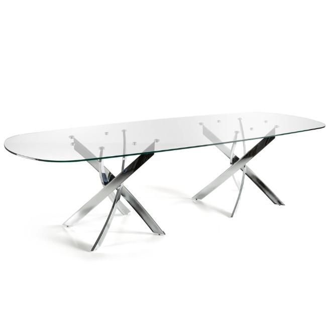 Mesa de comedor con dos patas de acero inoxidable