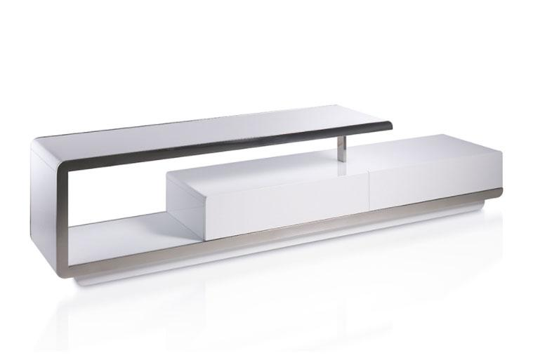 Mesa de TV F6080-T - Mesa de TV F6080-T, Mueble TV lacado con frontal de acero inoxidable