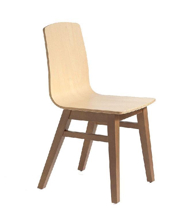 Silla de madera GOB-4255 - Silla de madera GOB-4255, Silla de madera maciza con asiento contrachapado