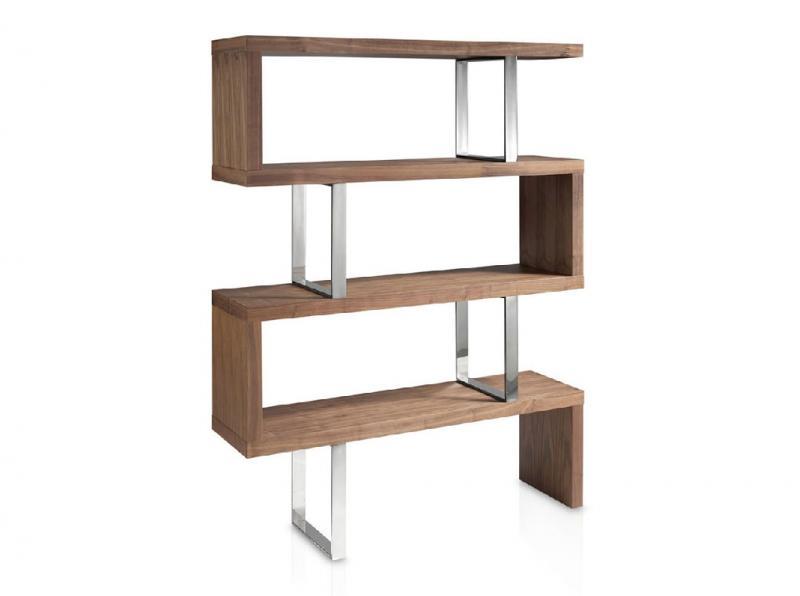 Estanteria LE501-EST - Estanteria LE501-EST, Estantería de madera chapada en nogal y estructura de acero inoxidable
