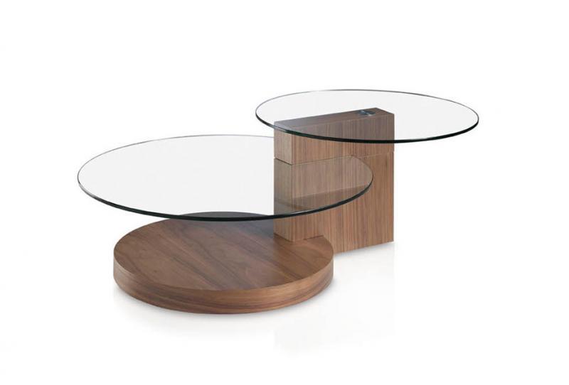 Mesa de centro LE607 - Mesa de centro LE607, Mesita de centro en madera chapada de nogal y tapa de cristal templado
