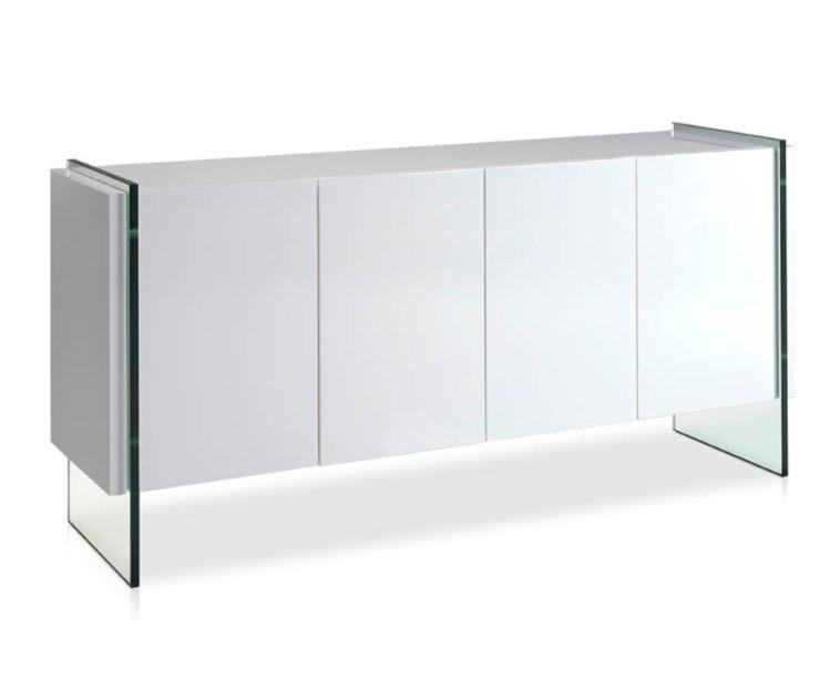 Aparador MI1319A-BLANCO - Aparador MI1319A-BLANCO, Aparador de madera lacada con laterales de cristal templado