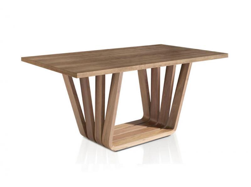 Mesa MI1358 Nogal - Mesa MI1358 Nogal, Mesa de comedor con base de madera chapada en nogal y tapa