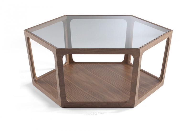 Mesa de centro PT6075 - Mesa de centro PT6075, Mesa de centro fabricada en nogal con tapa de cristal