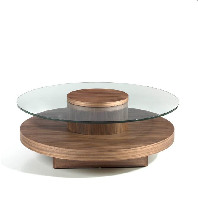 Mesa de centro redonda fabricada en madera de fresno chapada en nogal  - Mesa de centro redonda fabricada en madera de fresno chapada en nogal
