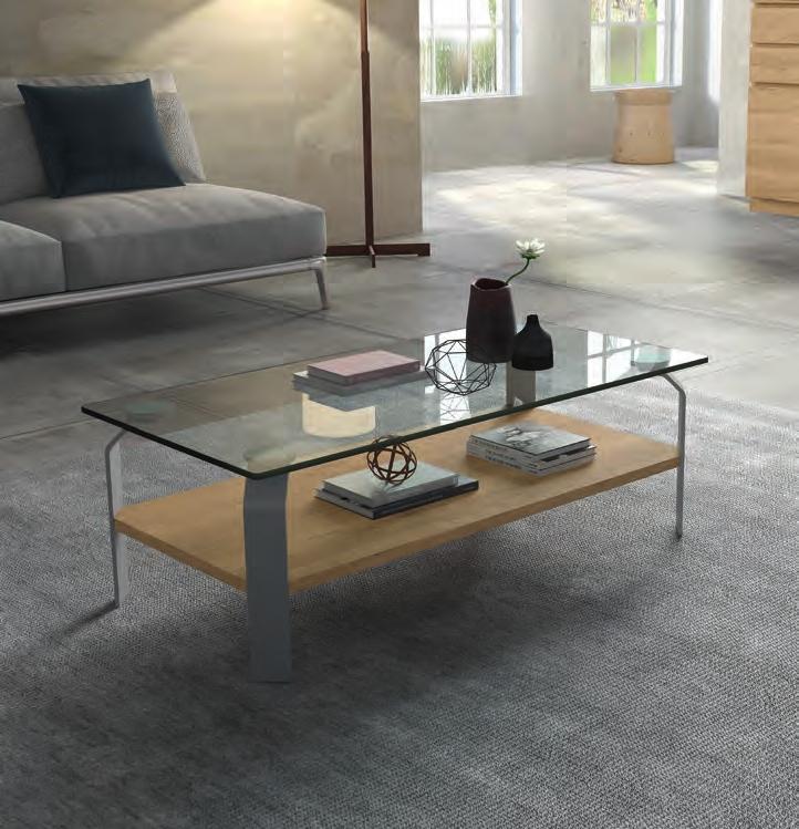 Mesa de centro Rect. Metal Cristal - Mesa de centro Rect. Metal Cristal, Mesa centro rectangular con sobre de cristal templado. 110x55x42 cm