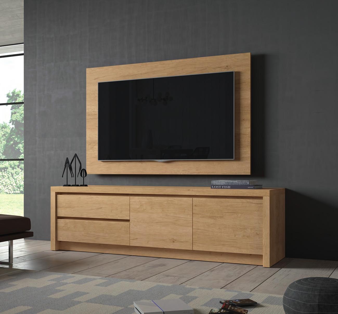 Mueble de TV D101C - Mueble de TV D101C, Mueble TV en color Teka junto con un panel TV