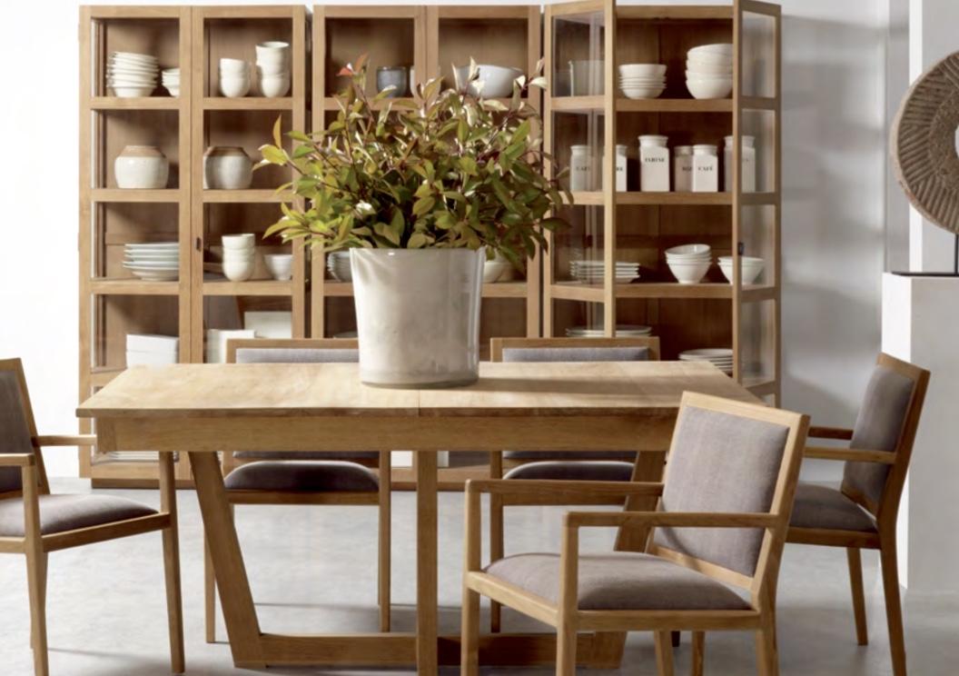 Mesa de comedor de teca Baladia - Mesa de comedor extensible de madera de teca.