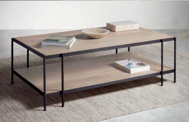 Mesa de centro moderna de hierro y madera de  roble  Baladia  - Mesa de centro, de hierro y madera de roble para el salón con excelente diseño para interiores.