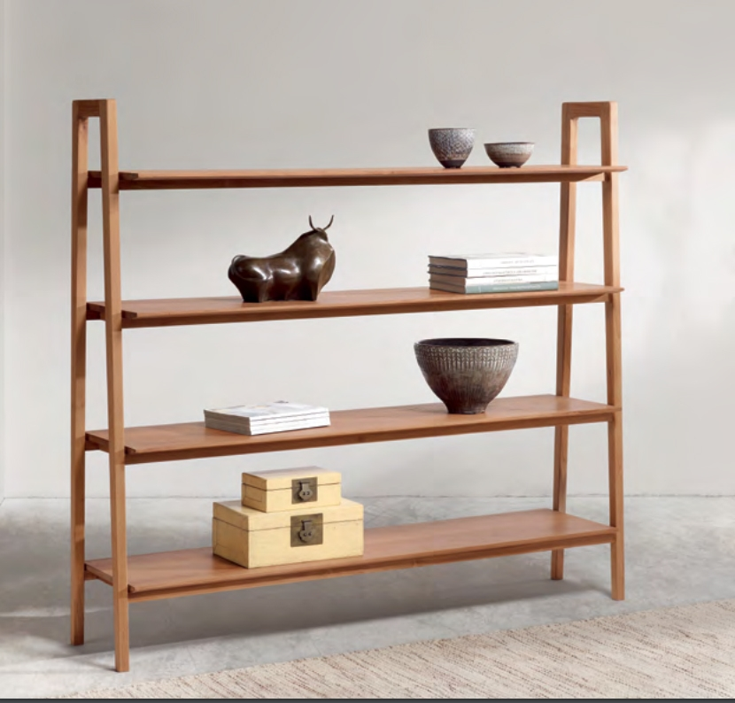 Estanteria de teca baladia - Estantería de madera de teca de tono claro.