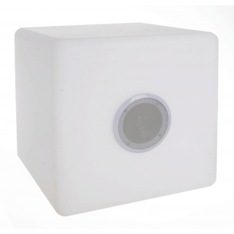 LÁMPARA LED CUBO SPEAKER PE 40X40 - PE, LÁMPARA LED, 7 COLORES, ALTAVOZ BLUETOOTH, CABLE USB Y MANDO A DISTANCIA INCLUIDOS. PARA USO INTERIOR Y EXTERIOR.