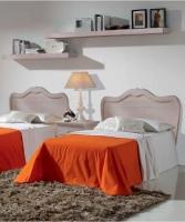 Dormitorio juvenil madera decapada - Cabecero, mesita y estantes para dormitorio juvenil
