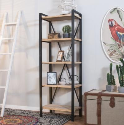 Estantería Ric  - Estantería en madera, metal, de color negro y estantes en madera natural