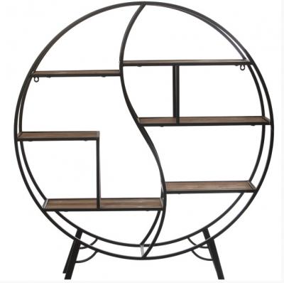 Estantería Round - Estantería en madera, metal, de color negro y estantes en madera natural