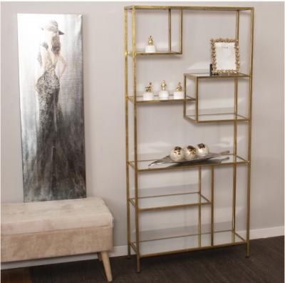 Estantería Vert gold - Estantería en hierro de color oro, con baldas de espejo.