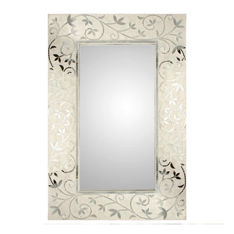 Espejo de madera con apliques Nacar 60198 - Espejo de madera con apliques Nacar 60198, 80x120x3,3 cm