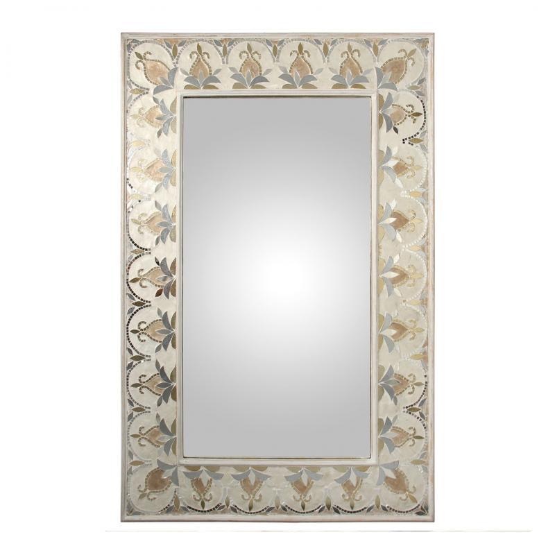 Espejo de madera con apliques Nacar 60200 - Espejo de madera con apliques Nacar 60200, 80x120x4 cm