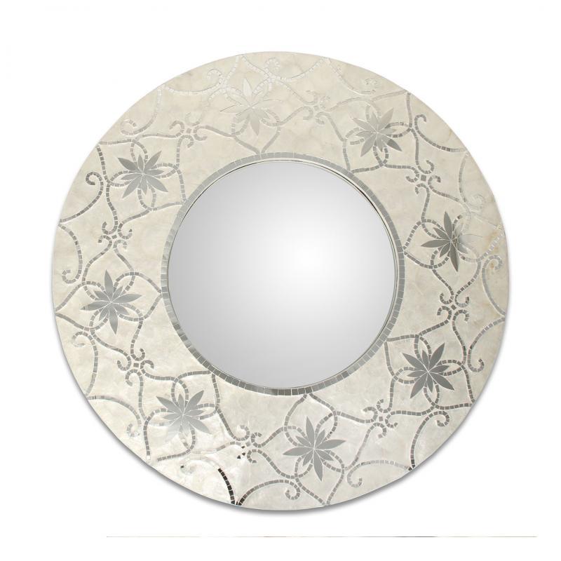 Espejo de madera con apliques Nacar 60205 - Espejo de madera con apliques Nacar 60205,  Ø80 cm