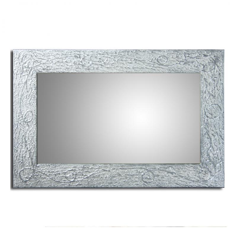 Espejo de madera con apliques Nacar Plata - Espejo de madera con apliques Nacar Plata, 88x58 Cm