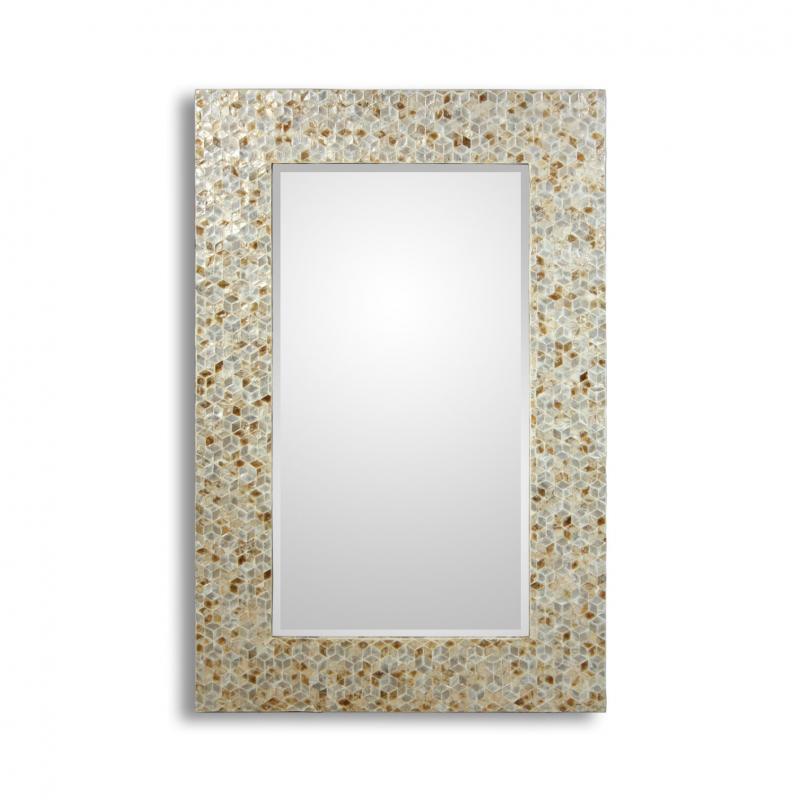 Espejo de madera con apliques Nacar 36835 - Espejo de madera con apliques Nacar 36835, 110x70x2,5 cm