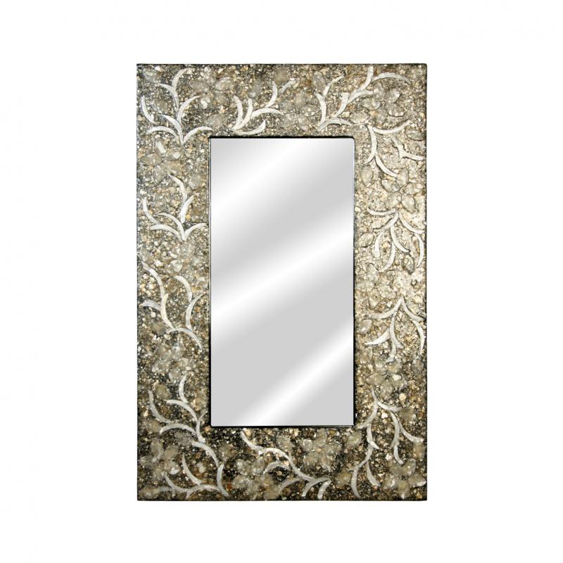 Espejo de madera con apliques Nacar 46643 - Espejo de madera con apliques Nacar 46643, 60x90cm cm