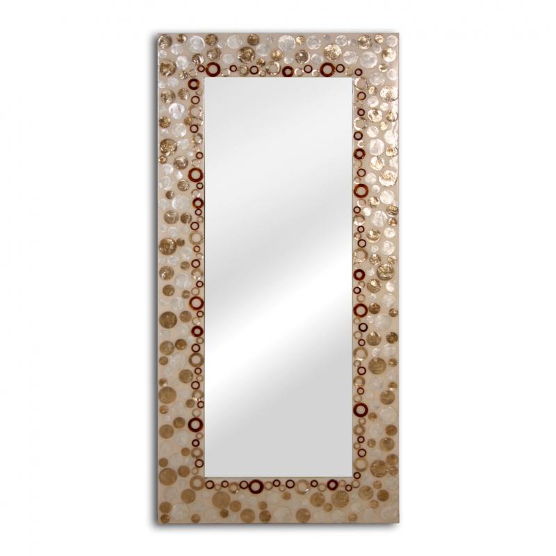 Espejo de madera con apliques Nacar 71390 - Espejo de madera con apliques Nacar 71390,  170x80 cm
