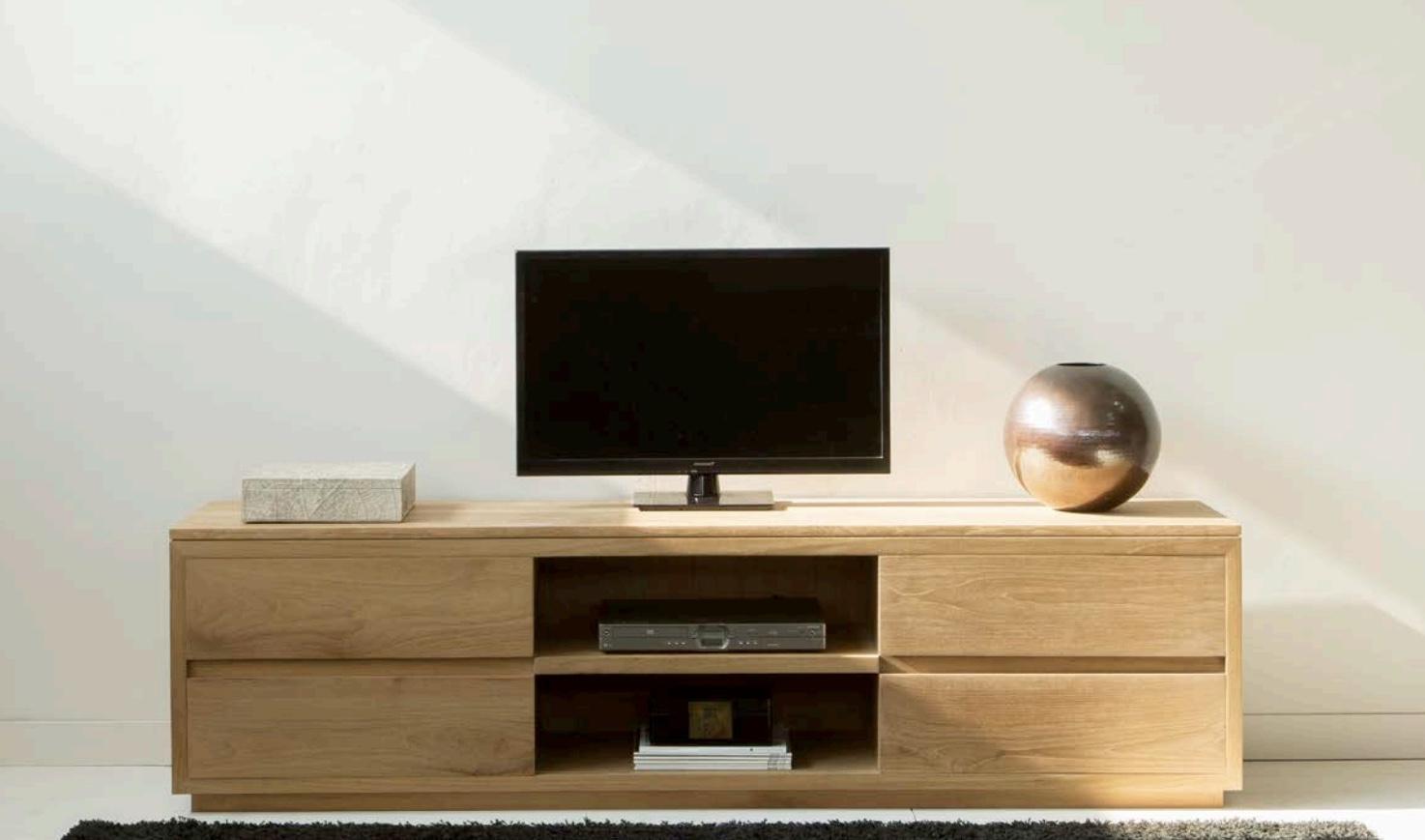 Mesa para televisión moderna  - Mesa  moderna de teca para televisión