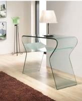 Consola de cristal transparente curva - Consola de cristal curva
