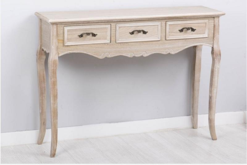 CONSOLA  estilo romántico color madera decapada - Consola de madera tropical con diseño romántico color madera decapada