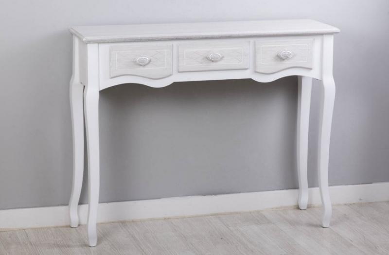 CONSOLA  estilo romántico color gris decapado - Consola de madera tropical con diseño romántico color gris decapado