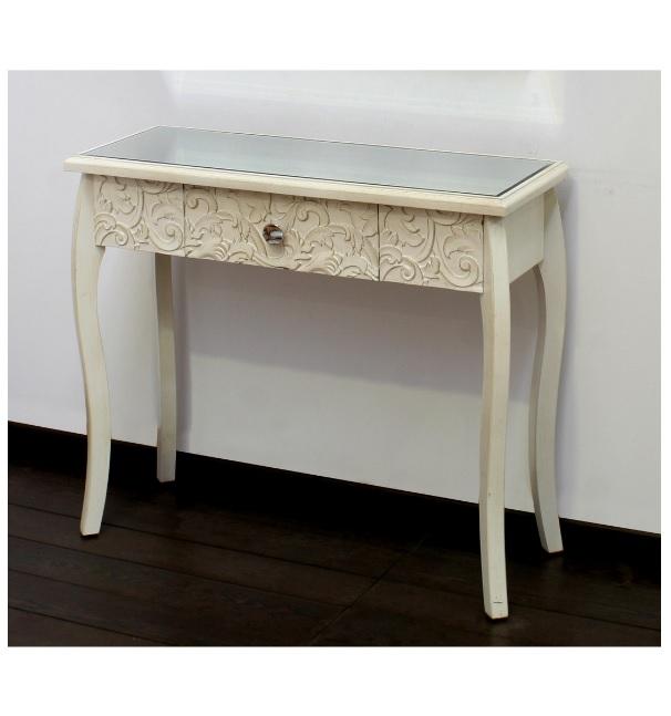 Consola Minki madera tallada con espejo - Consola Minki en color blanco